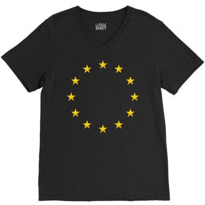 Euro Flag Stars V-neck Tee Designed By Sabriacar