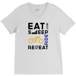 Eat Sleep Ride Repeat V-Neck Tee   Artistshot