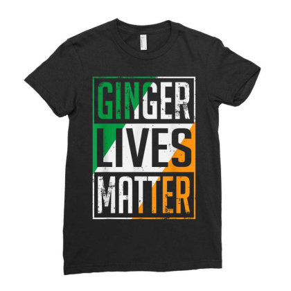 Ginger Lives Matter Irish Flag Ladies Fitted T-shirt Designed By Koopshawneen