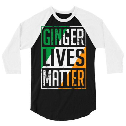 Ginger Lives Matter Irish Flag 3/4 Sleeve Shirt Designed By Koopshawneen