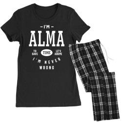 Alma Personalized Name Birthday Gift Women's Pajamas Set | Artistshot