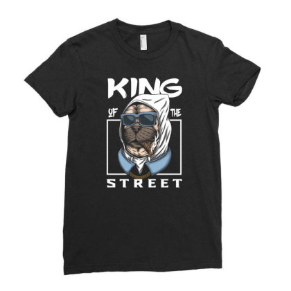 Pug Dog King Of The Street Ladies Fitted T-shirt Designed By Dhiart