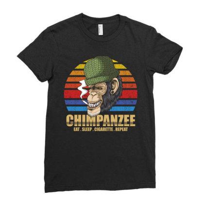 Chimpanzee Ladies Fitted T-shirt Designed By Grafixbychawki