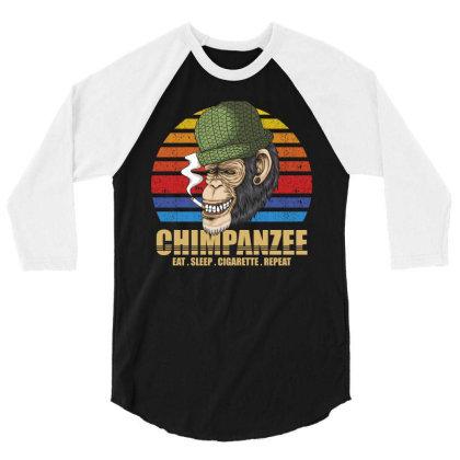 Chimpanzee 3/4 Sleeve Shirt Designed By Grafixbychawki
