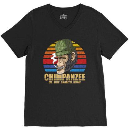 Chimpanzee V-neck Tee Designed By Grafixbychawki