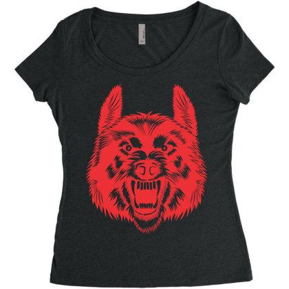 Wolf Women's Triblend Scoop T-shirt Designed By Estore