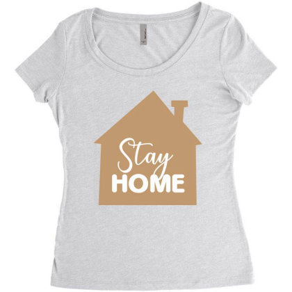 Stay Home Women's Triblend Scoop T-shirt Designed By Estore
