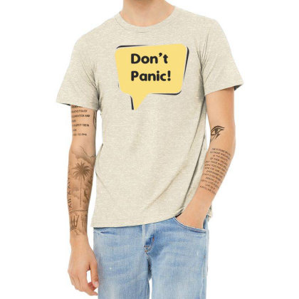 Don't Panic Heather T-shirt Designed By Estore