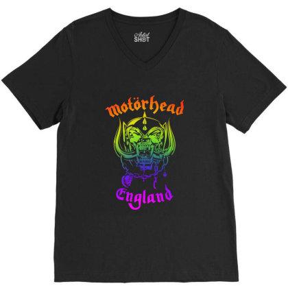 Chain Motorhead Skull Art T Shirt V-neck Tee Designed By Bluebubble