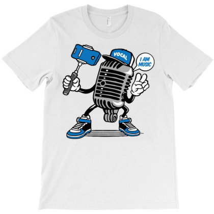 Vintage Microphone Music Selfie T-shirt Designed By Dhiart