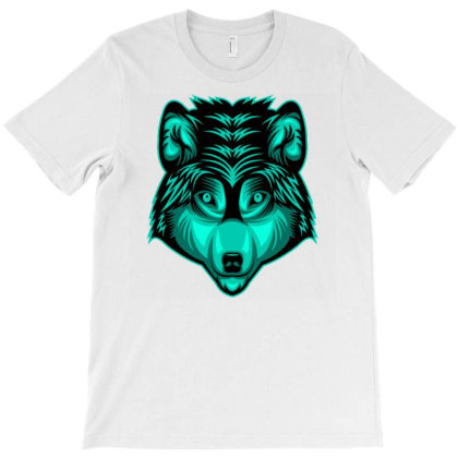 Wolf Head Face T-shirt Designed By Dhiart