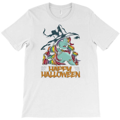 Young Witch Happy Halloween T-shirt Designed By Dhiart