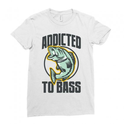 Addicted To Bass Fish Fishing Ladies Fitted T-shirt Designed By Mdk Art