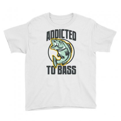 Addicted To Bass Fish Fishing Youth Tee Designed By Mdk Art