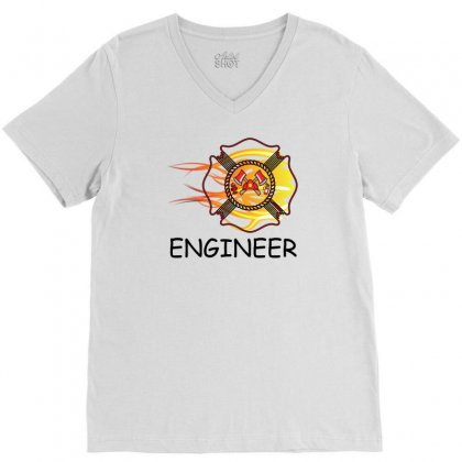 Fire Department Engineer V-neck Tee Designed By Sabriacar