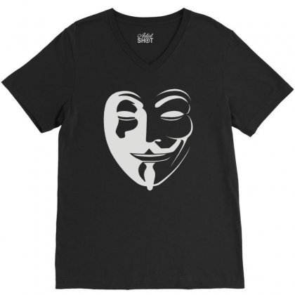 Anonymous V-neck Tee Designed By Mdk Art