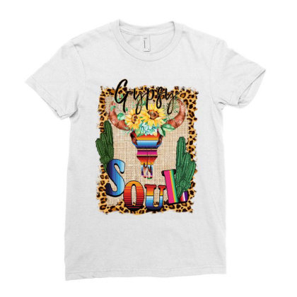 Gypsy Soul Serape Cactus Ladies Fitted T-shirt Designed By Badaudesign
