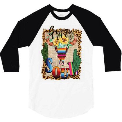 Gypsy Soul Serape Cactus 3/4 Sleeve Shirt Designed By Badaudesign