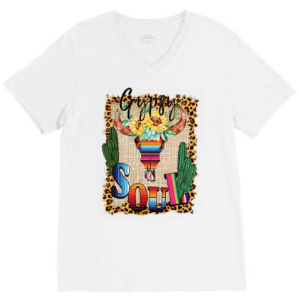 Gypsy Soul Serape Cactus V-neck Tee Designed By Badaudesign