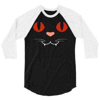 Cat Face 3/4 Sleeve Shirt Designed By Fanshirt