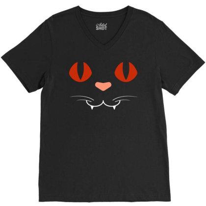 Cat Face V-neck Tee Designed By Fanshirt