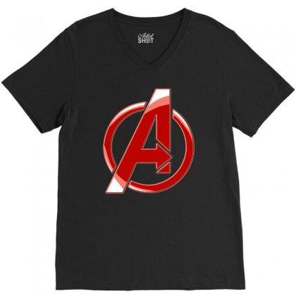 Avenger Logo V-neck Tee Designed By Mdk Art