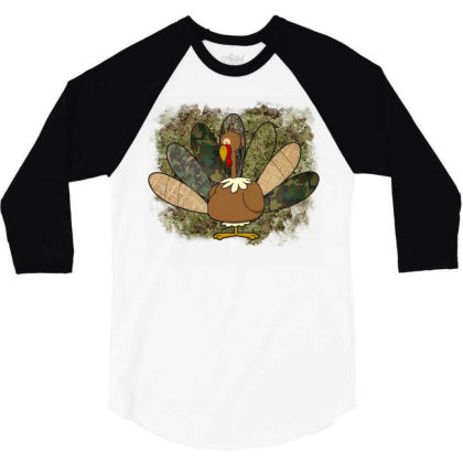 Turkey Thanksgiving Camouflage 3/4 Sleeve Shirt Designed By Badaudesign