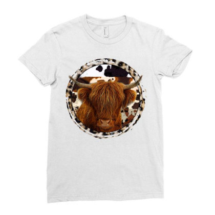 Highland Cow Ladies Fitted T-shirt Designed By Badaudesign