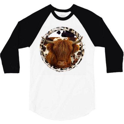 Highland Cow 3/4 Sleeve Shirt Designed By Badaudesign