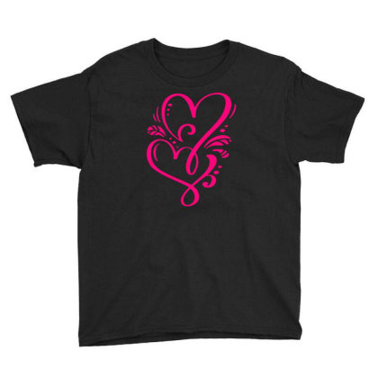 Double Heart Doodle Youth Tee Designed By L4l4pow