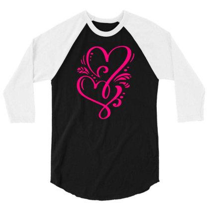Double Heart Doodle 3/4 Sleeve Shirt Designed By L4l4pow
