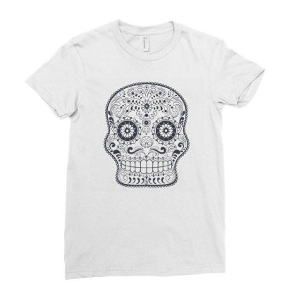 Freaky Skull Death Punk Rock Metal Ladies Fitted T-shirt Designed By Fanshirt