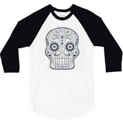 Freaky Skull Death Punk Rock Metal 3/4 Sleeve Shirt Designed By Fanshirt
