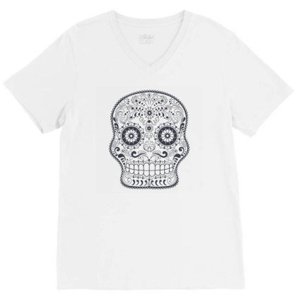 Freaky Skull Death Punk Rock Metal V-neck Tee Designed By Fanshirt