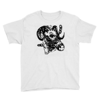 Horns Skull Chain Lock Youth Tee Designed By Fanshirt