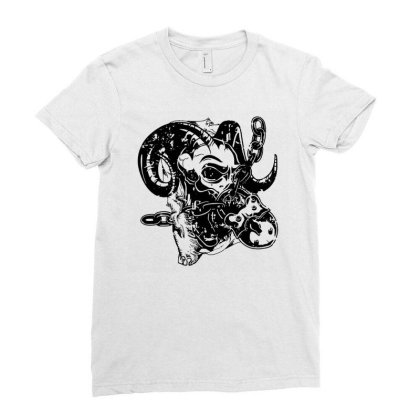 Horns Skull Chain Lock Ladies Fitted T-shirt Designed By Fanshirt