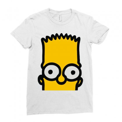 Bart Simpson Ladies Fitted T-shirt Designed By Mdk Art
