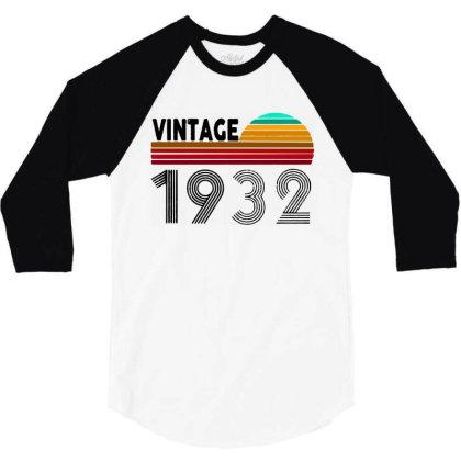 1932 Vintage Funny 88th Birthday 3/4 Sleeve Shirt Designed By Batikmadrim Art