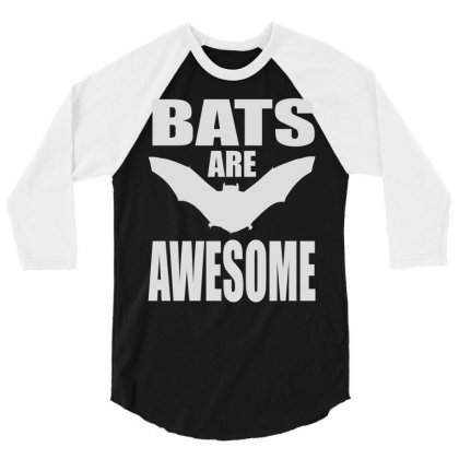 Bats Are Awesome 3/4 Sleeve Shirt Designed By Mdk Art