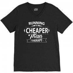 Running Is Cheaper Than Therapy V-Neck Tee | Artistshot