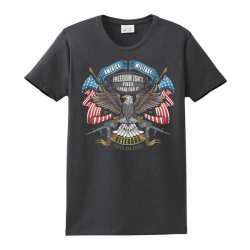 America Eagle Usa Flag Artwork For Veterans Day, Memorial Day, And Ind Ladies Classic T-shirt Designed By Maadart
