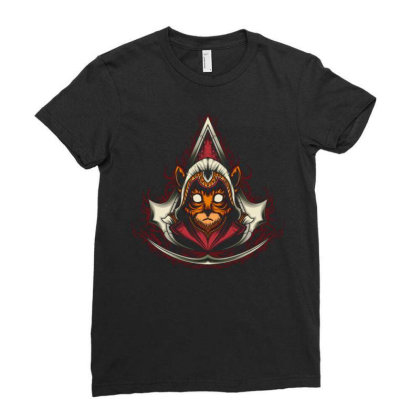 Assassin Creed Kitten Ladies Fitted T-shirt Designed By Maadart