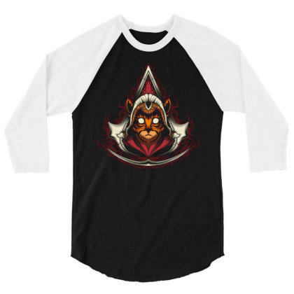 Assassin Creed Kitten 3/4 Sleeve Shirt Designed By Maadart