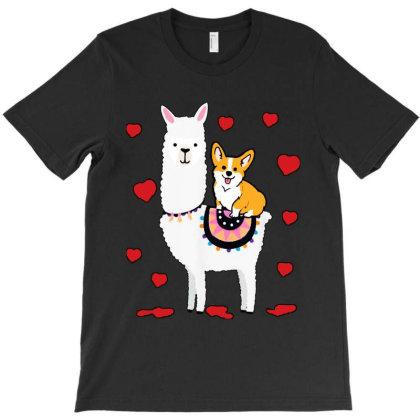 Cool Corgi Riding Llama T-shirt Designed By Batikmadrim Art