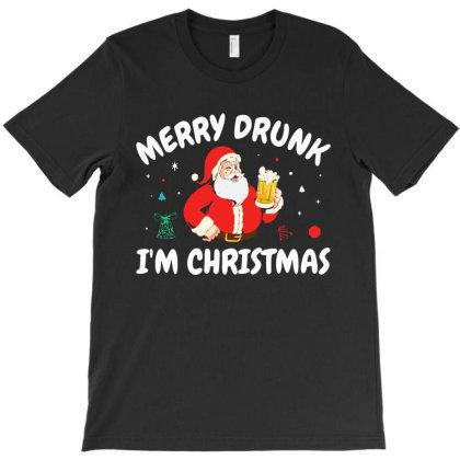 Christmas Funny Drinking Santa T-shirt Designed By Batikmadrim Art