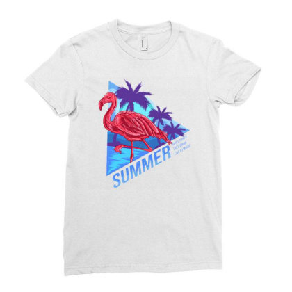 Flamingo Summer Ladies Fitted T-shirt Designed By Maadart
