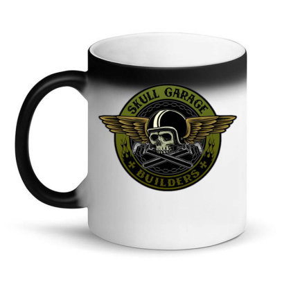 Flying Skull With Wrench Suitable For Motorcycle Club Or Garage Servic Magic Mug Designed By Maadart