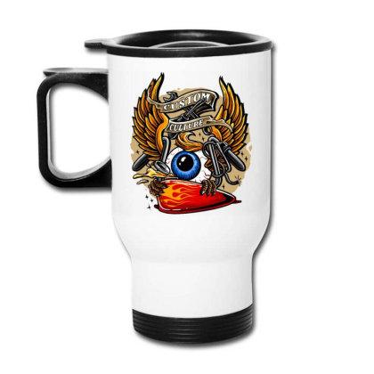 Flying Eyeball Retro Travel Mug Designed By Maadart