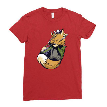 Meditating Fox Yoga Ladies Fitted T-shirt Designed By Jameszestrada