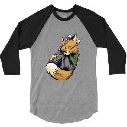 Meditating Fox Yoga 3/4 Sleeve Shirt Designed By Jameszestrada
